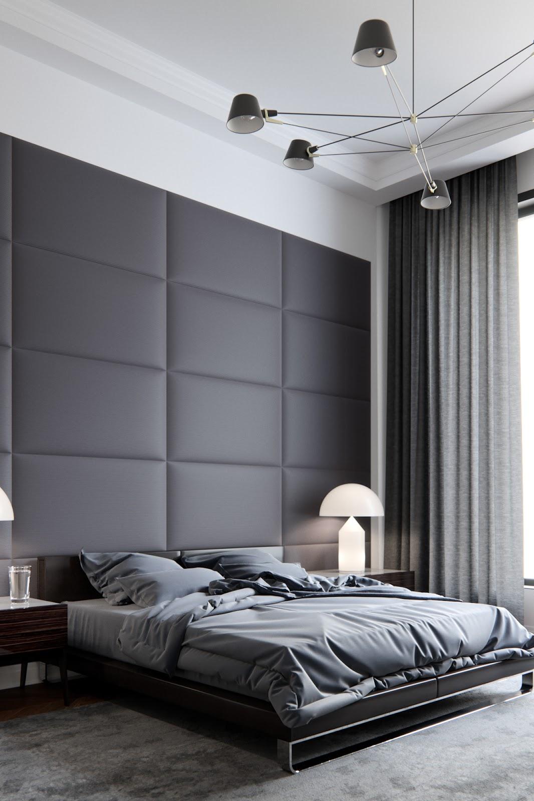 dark interior design for bedroom