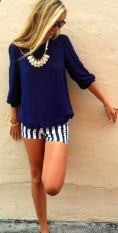 Navy Shorts With Blue Baggy Sweater