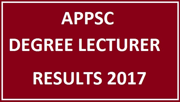 APPSC Degree Lecturer Results 2017