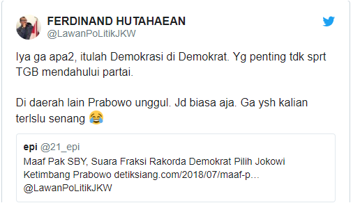 DPD Partai Demokrat Jatim Dukung Jokowi, Begini Tanggapan Ferdinand