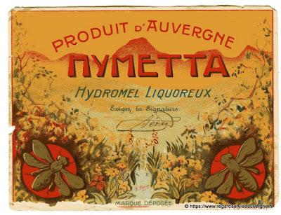 Etiquette publicitaire Hymetta, produit d'Auvergne