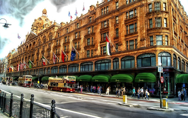 Wide view of Harrods store in Knightsbridge London