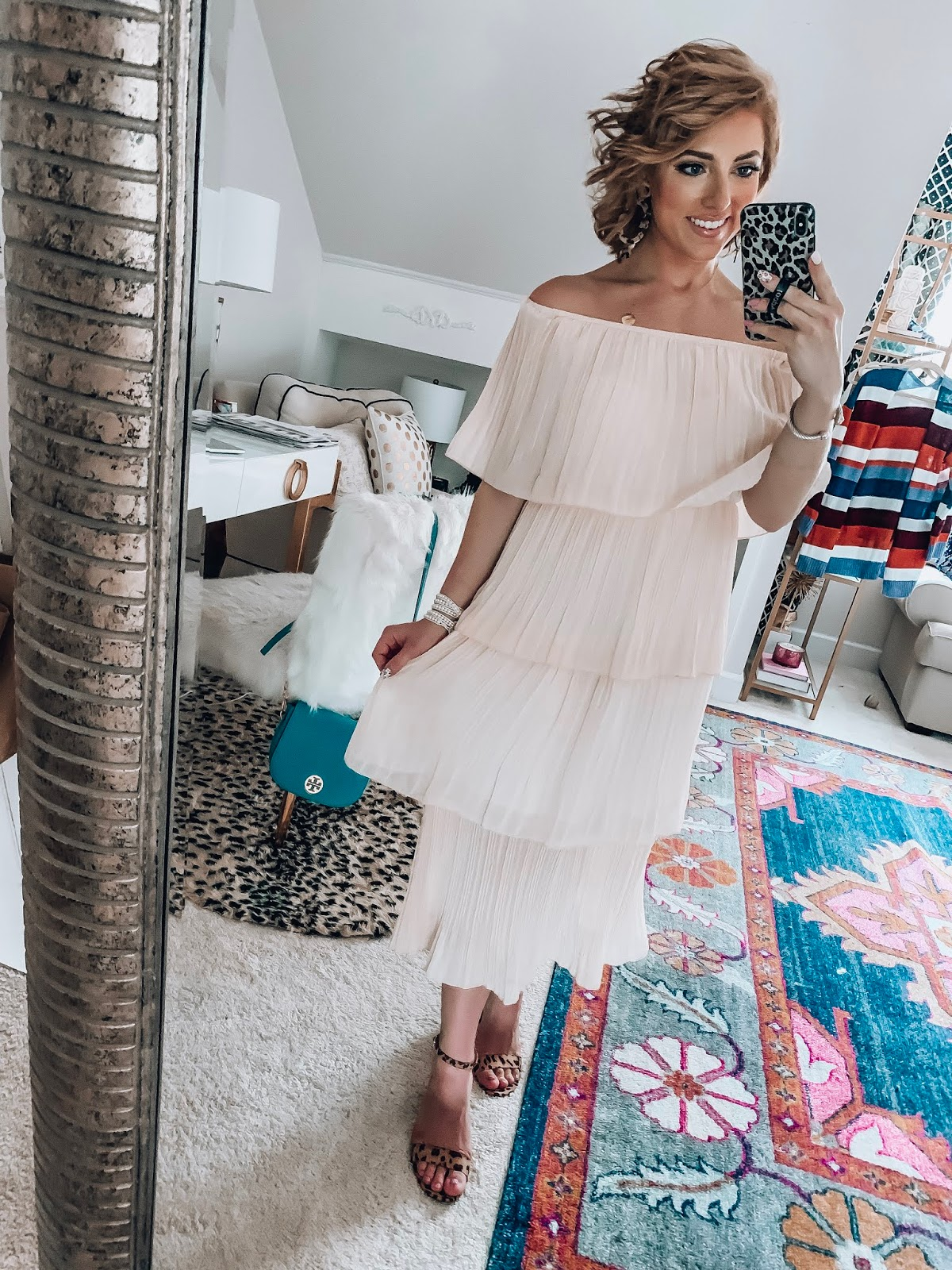 Under $30 Ruffle Pleated Midi Dress - The Perfect look for transitioning into fall - Recent Amazon Finds - Something Delightful Blog