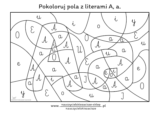Karta pracy do nauki czytania Litera A Alfabet Litery Ukryta literka