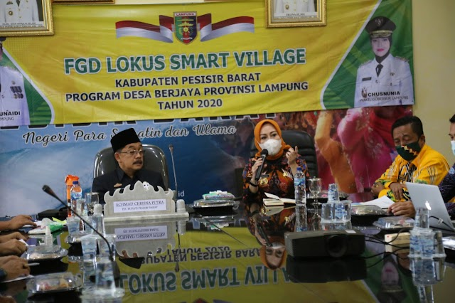 Bahas Program Smart Village, Pjs Bupati Pesibar Hadiri Focus Group Discussion Bersama Kepala Dinas PMDT Provinsi Lampung