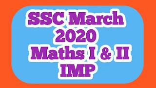 SSC March 2020 Maths I & II