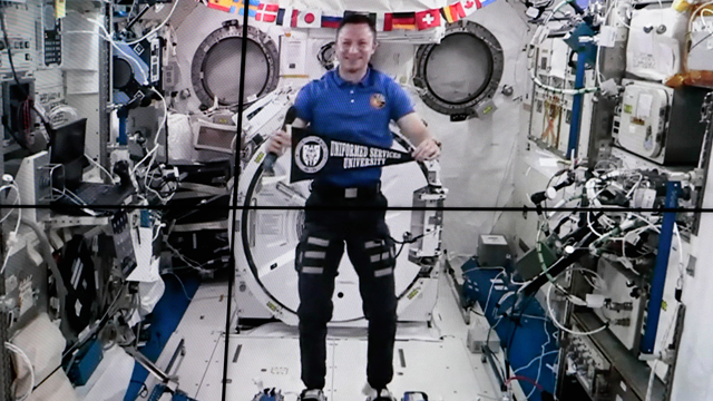 Drew Morgan broadcasting to USU from the ISS