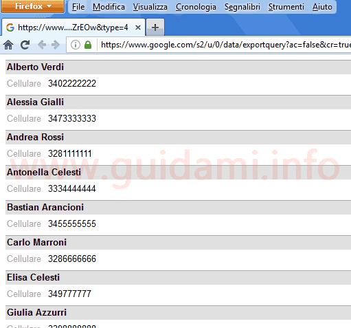 Google Contatti lista contatti importati da Android pronta da stampare