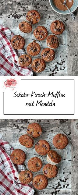 Schoko-Kirsch-Muffins mit Mandeln | Rezept | Backen | Essen | Muffins