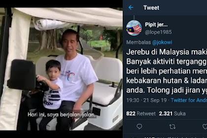 Jokowi Sempat-sempatnya Ngevlog saat Kabut Asap, WN Malaysia: Tolong jadi Tetangga yang Baik!