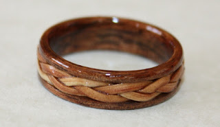 Touch Wood Ring with braided inlay by David Finch