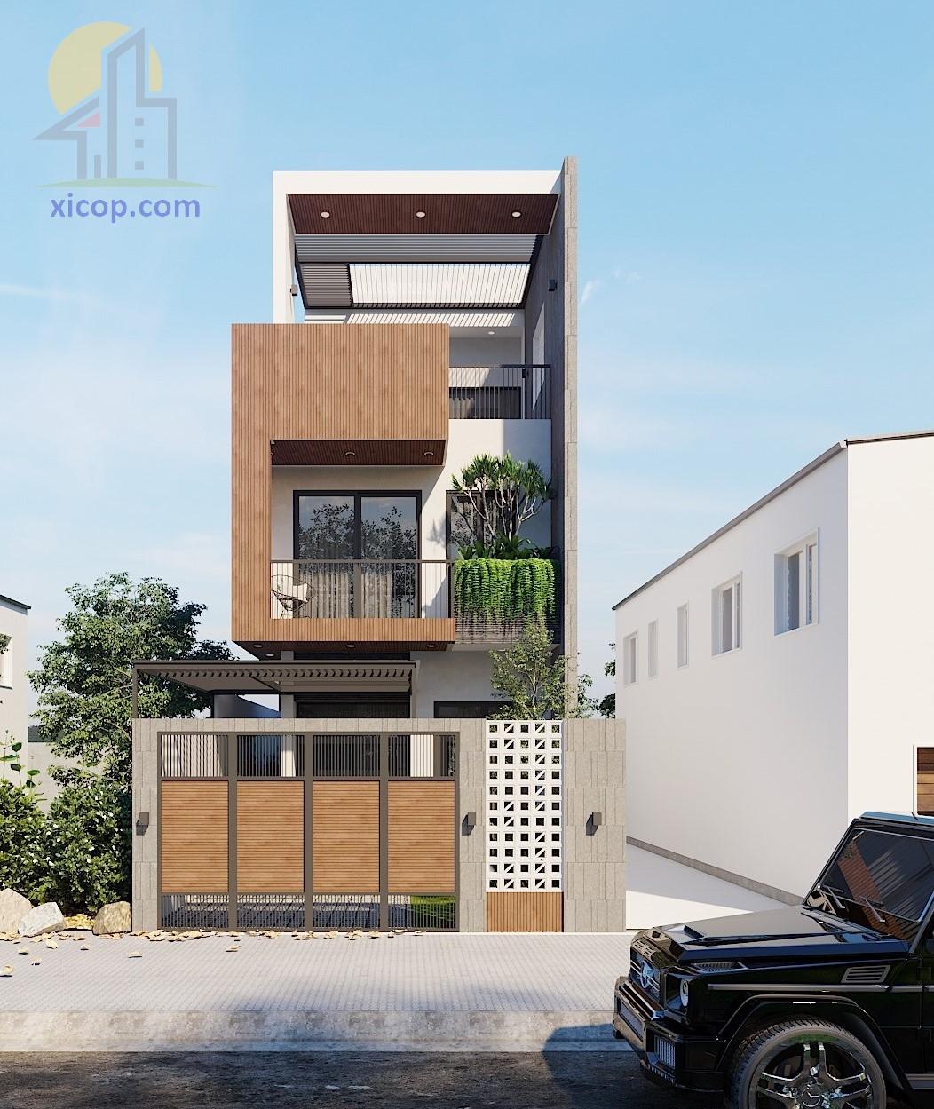 Nhà 3 tầng 100m2 mẫu thiết kế với chi phí xây dựng rẻ