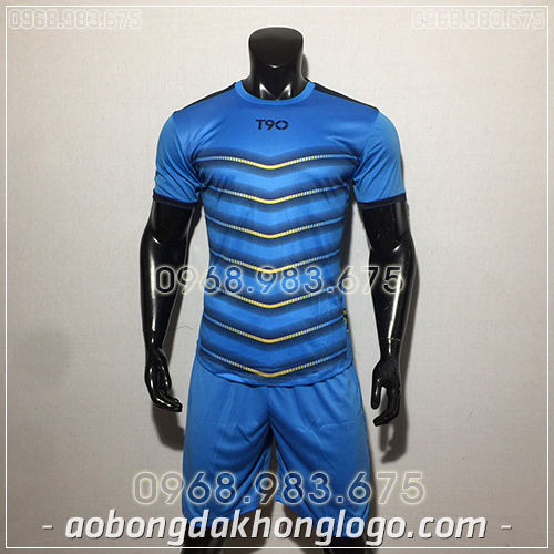 Áo bóng đá ko logo T90 LEG màu xanh dương