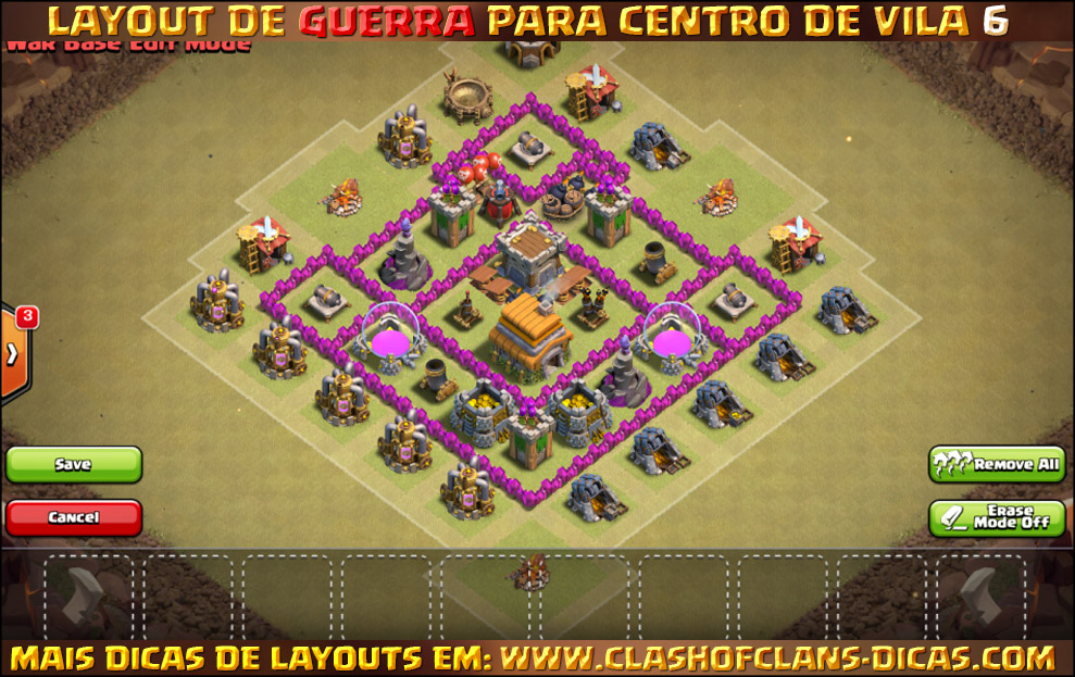 Layout de Centro de Vila 6 para Guerra - Town Hall 6 War Layout