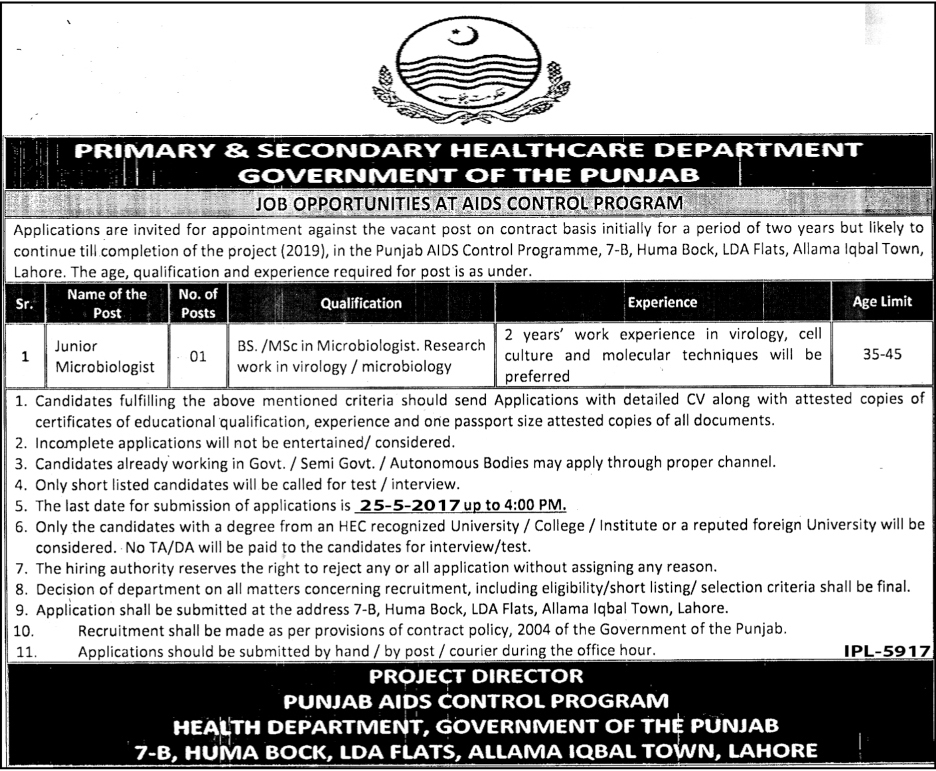 Junior Microbiologist Jobs in Primary And Secondary Healthcare Department  Lahore 2017