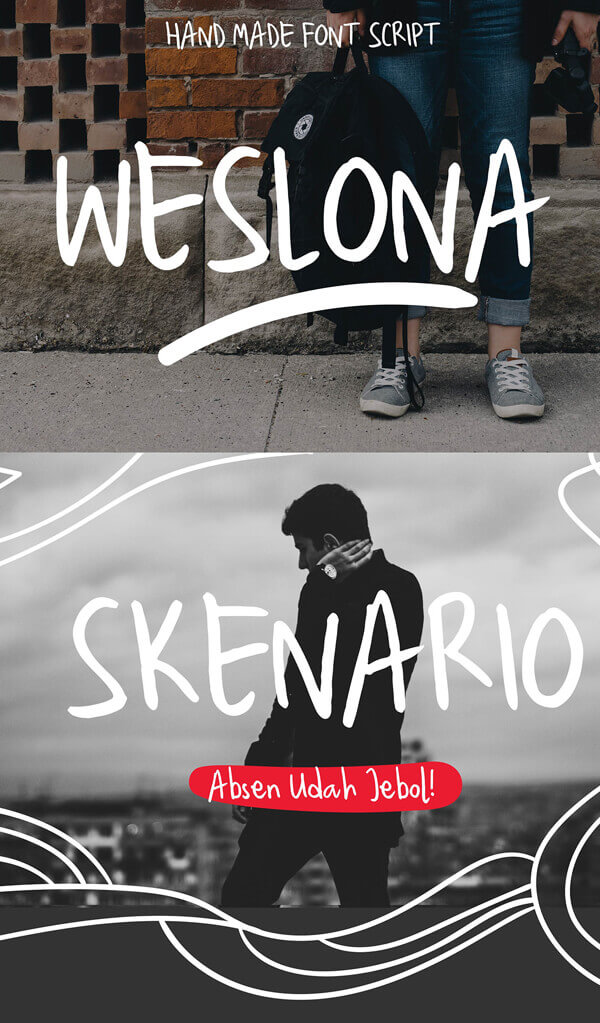 Free Font - Weslona Handmade Free Font