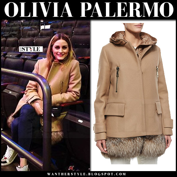 Olivia Palermo in camel fur hem moncler fenelon coat and hight top sneakers max and co what she wore