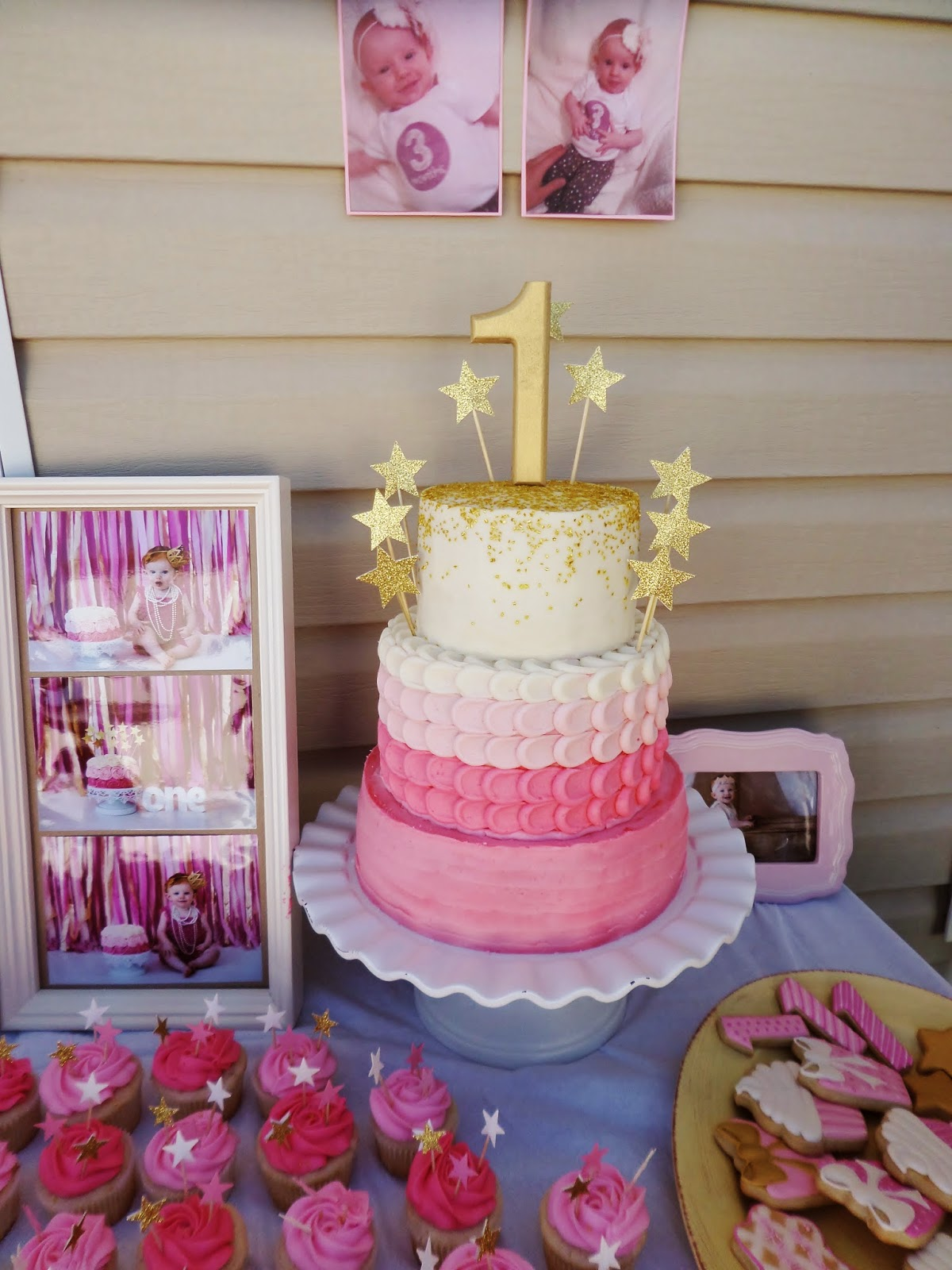 Pink And Gold Ombre Star Tiered Cake And Pink Ombre