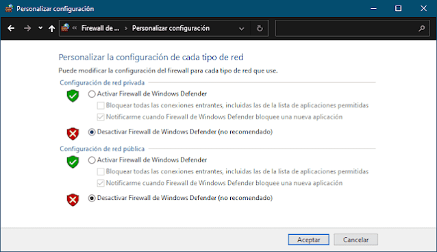 Desactivar el Firewall de Windows