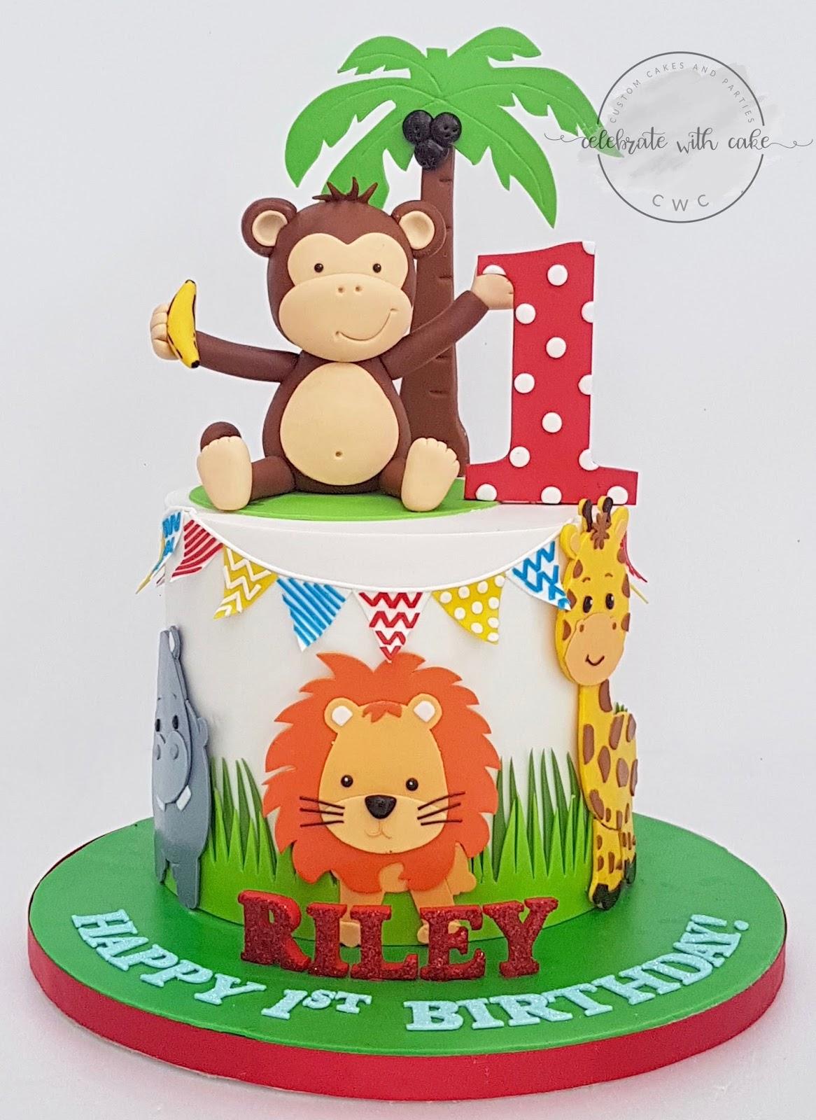 Celebrate With Cake Safari 1st Birthday Single Tier