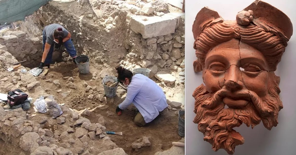 Archaeologists In Western Turkey Discover 2,400 Year Old Ancient Greek Mask Of Dionysus