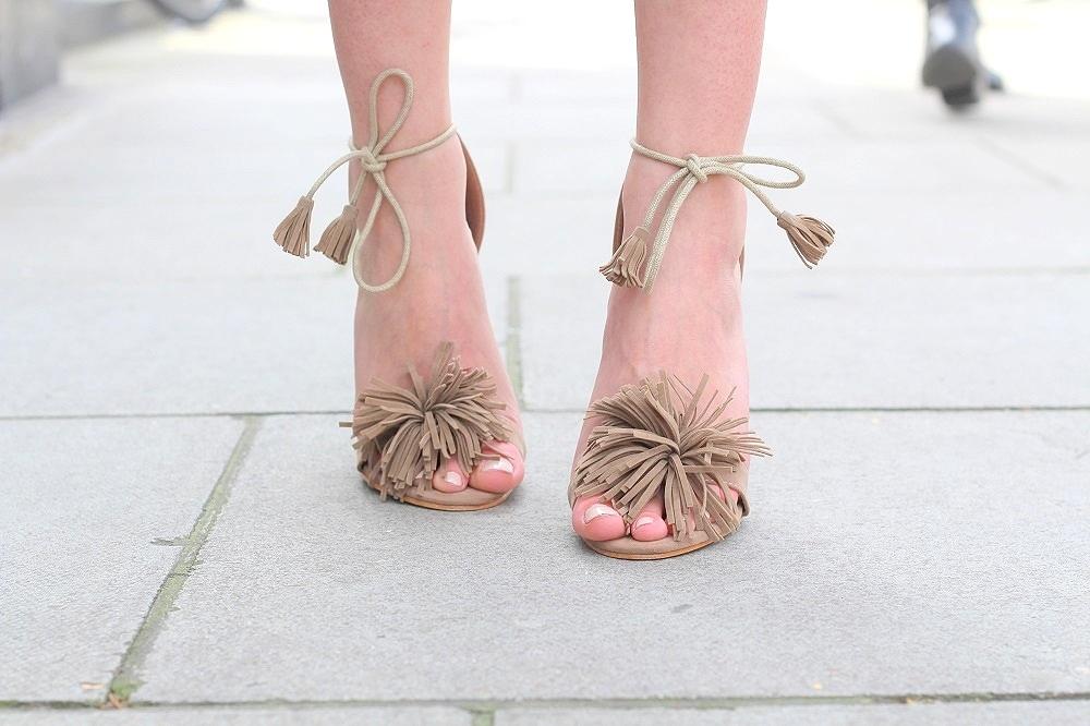 mocha fringe heels