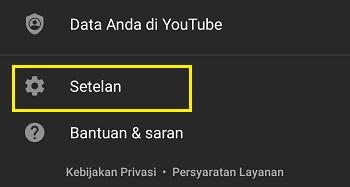 Menu setelan di aplikasi YouTube