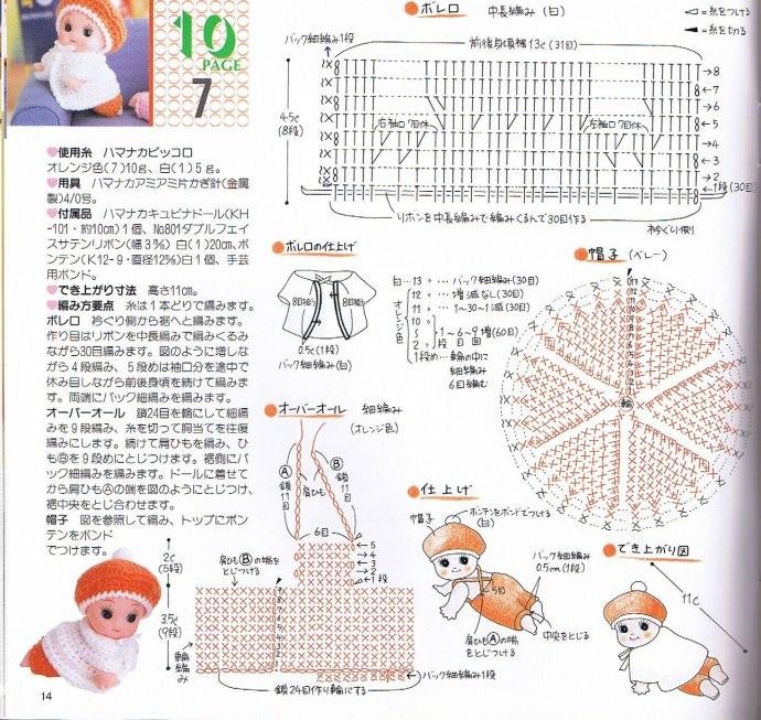 Схемы вязаной кукольной одежды