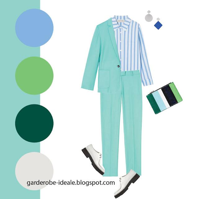 Бирюзовый брючный костюм с голубой рубашкой в полоску