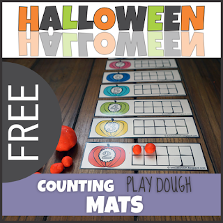 FREE Halloween Counting Play Dough Mats