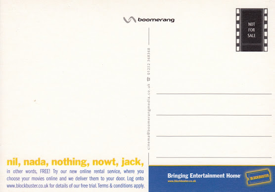 Blockbuster Entertainment postcard by Boomerang