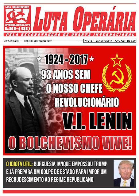 LEIA A EDIÇÃO DO JORNAL LUTA OPERÁRIA, Nº 318, JANEIRO/2017