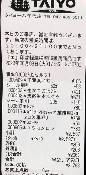 タイヨー 八千代店 2020/6/9 のレシート