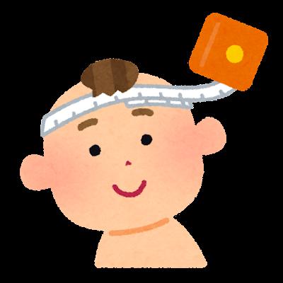 赤ちゃんの頭囲の測定のイラスト