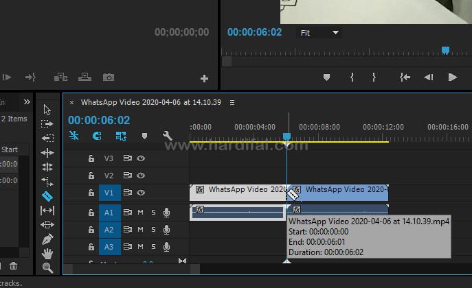 Gunakan Razer tool untuk memotong bagian video