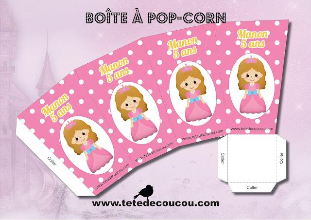 Boîtes pop-corn bonbons Kit anniversaire personnalisé princesse fille rose à imprimer tête de coucou