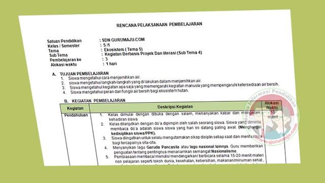 RPP 1 Lembar Kelas 5 Semester 1 Tema 5 K13 Revisi