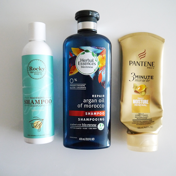 Empty hair care from Rocky Mountain Soap Company, Herbal Essences, Pantene