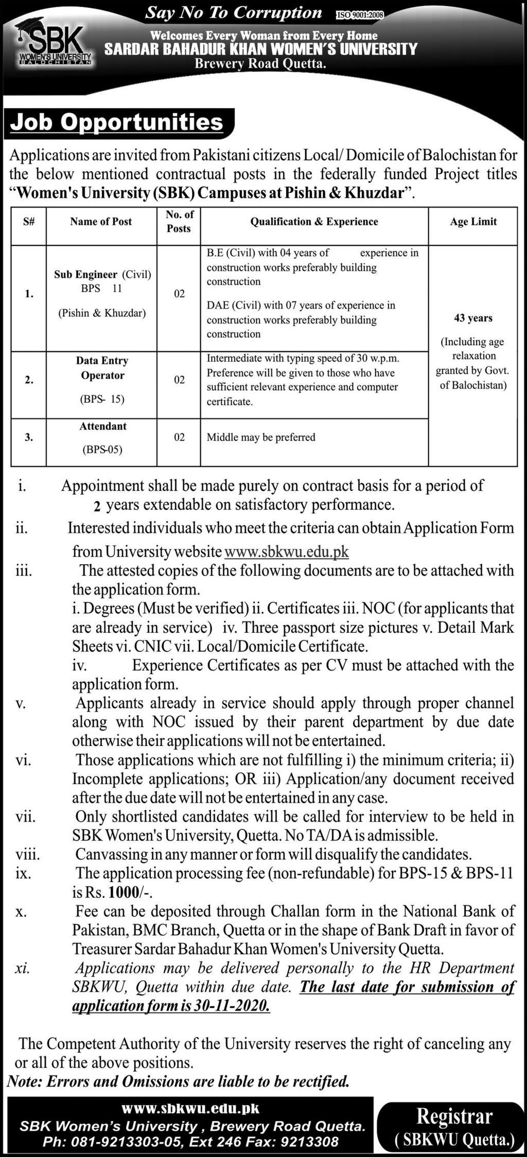 Sardar Bahadur Khan Women University SBKWU Jobs in Pakistan - Download Job Application Form - www.sbkwu.edu.pk Jobs 2021