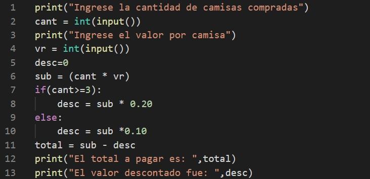 Ejercicio en Python Total a pagar por una compra