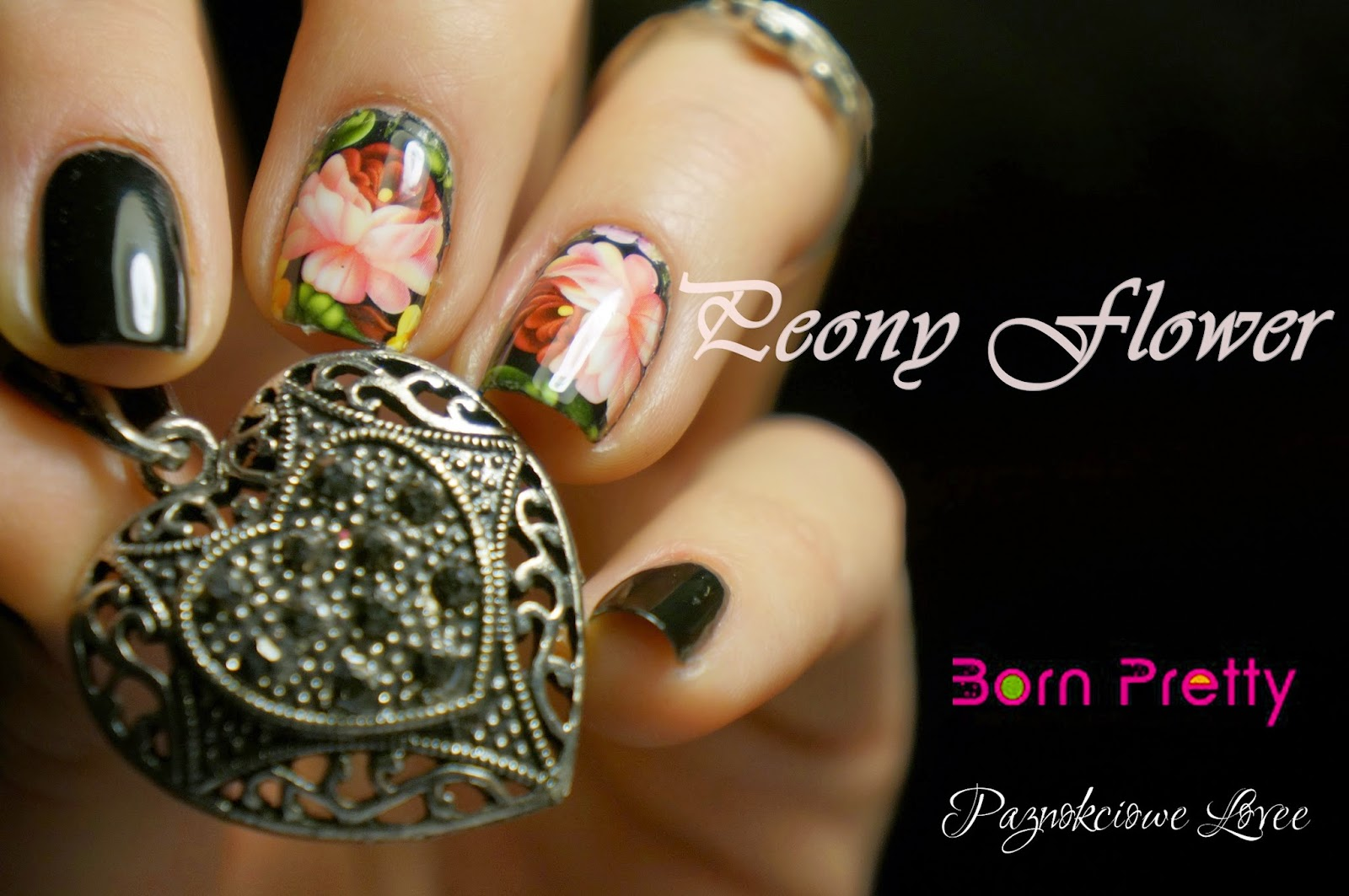 Peony flower, nail art water decal sticker from Born Pretty Store