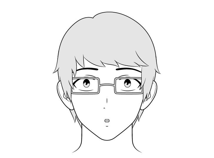 Pria intelektual anime terkejut menggambar wajah