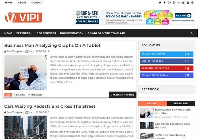 VIPI Blog mobile friendly blogger template