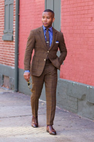 Men's street style: brown checked suit with blue striped shirt