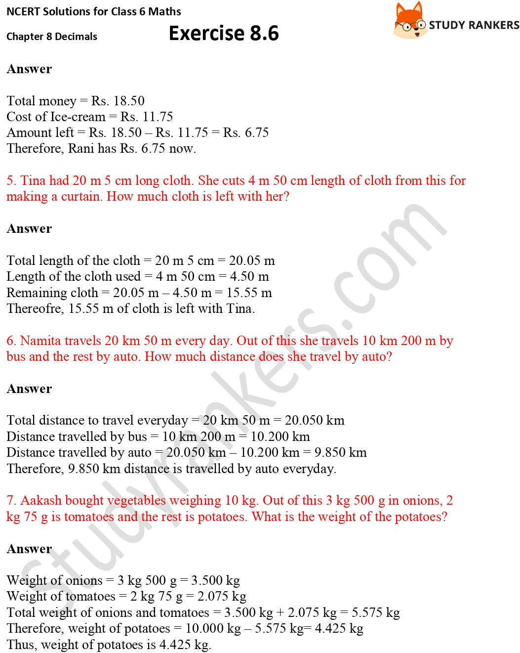 NCERT Solutions for Class 6 Maths Chapter 8 Decimals Exercise 8.6 Part 2