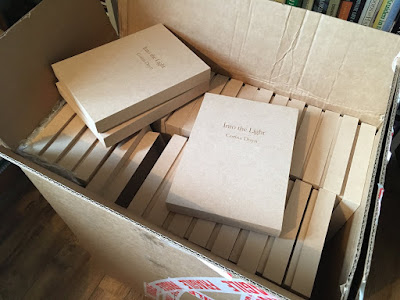 box full of Into the Light boxes by Corina Duyn