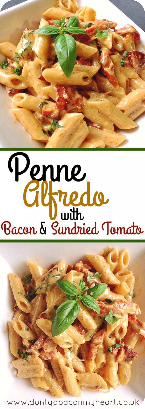 Penne Alfredo with Bacon and Sundried Tomato  #penne #alfredo #maindish #dinner