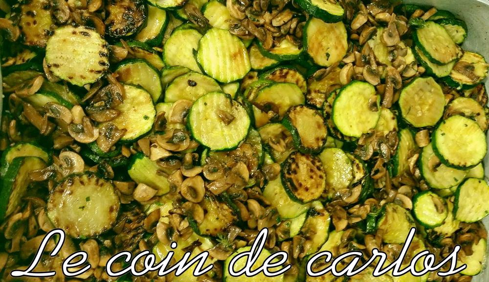 Le coin de carlos po l e de courgettes et champignon de paris - Champignon de paris a la poele ...