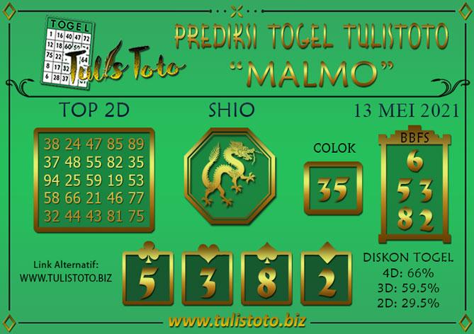 Prediksi Togel MALMO TULISTOTO 13 MEI 2021