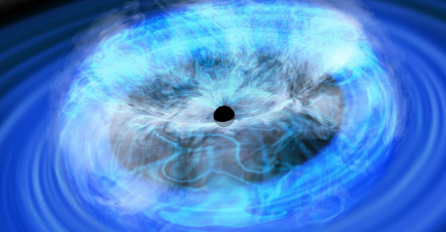 Artist's rendering of the corona around a black hole. Credit: RIKEN